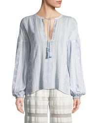 Jonathan Simkhai - Embroidered Peasant Blouse - Lyst