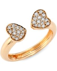 Hueb - Hearts Diamond & 18k Rose Gold Open Ring - Lyst