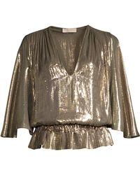 Ramy Brook Women's Tonya Platinum Popover Metallic Top - Platinum
