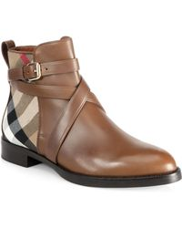 Burberry | Vaughn Leather & House Check Booties | Lyst