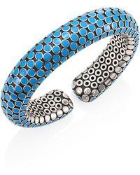 John Hardy - Dot Small Sterling Silver Flex Cuff/turquoise - Lyst
