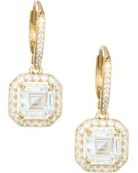 Adriana Orsini - 18k Goldplated Sterling Silver Framed Square Leverback Earrings - Lyst