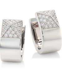 Roberto Coin - Prive Pyramid Pave Diamond & 18k White Gold Earrings - Lyst