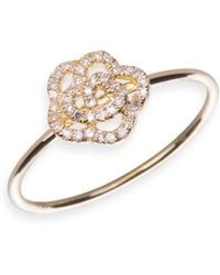 EF Collection - Diamond Rose Stacking Ring - Lyst
