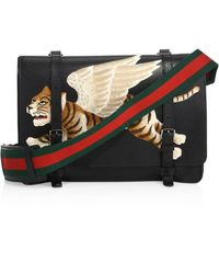 Gucci | Leather Messenger Bag With Tiger Appliqué | Lyst