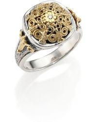 Konstantino - Classic Diamond, 18k Yellow Gold & Sterling Silver Petite Ring - Lyst