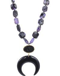 Nest - Charoite Black Horn Crescent Pendant Necklace - Lyst