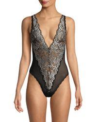 Hanky Panky - Women s Regency Lace Bodysuit - Black Marshmallow - Size  Small - Lyst 45c93c77c
