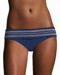 Tory Burch - Costa Hipster Smocked Bikini Bottom - Lyst
