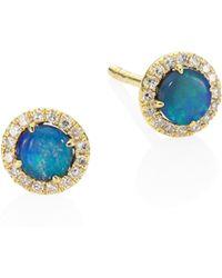 Meira T - Diamond, Opal & 14k Yellow Gold Stud Earrings - Lyst