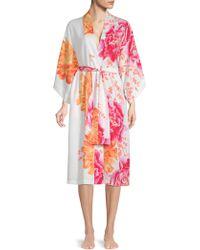 Natori - Floral Satin Robe - Lyst