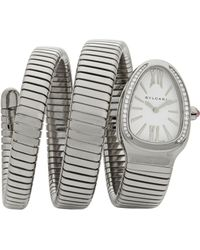 BVLGARI - Serpenti Tubogas Stainless Steel & Diamond Double Twist Watch - Lyst