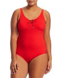 Marina Rinaldi - Bordeaux One-piece Swimsuit - Lyst