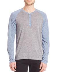Splendid Mills | Raglan Sleeve Colorblock Henley Shirt | Lyst