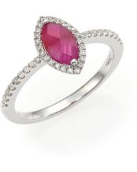 Meira T - Diamond, Ruby & 14k White Gold Ring - Lyst