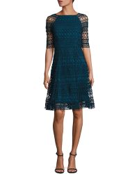 Kay Unger - Geometric Lace Dress - Lyst