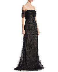 Teri Jon - Off-the-shoulder Tulle Mermaid Gown - Lyst