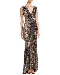 David Meister - Pleated Velvet Mermaid Gown - Lyst