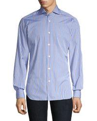 Kiton - Contemporary-fit Mini Plaid Button-down Shirt - Lyst