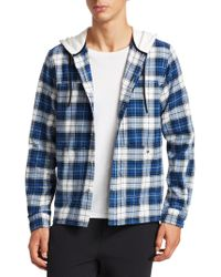 a065321f Madison Supply - Men's Plaid Cotton Flannel Hooded Shirt - Blue White -  Size Xl -