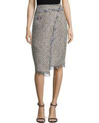 MILLY - Tweed Fringe Midi Skirt - Lyst