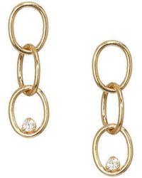 Zoe Chicco - Paris Diamond & 14k Yellow Gold Chain Link Post Earrings - Lyst