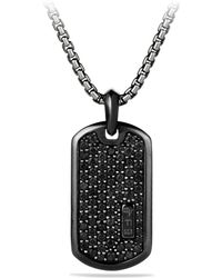 David Yurman - Pavé Tag With Black Diamonds And Black Titanium - Lyst