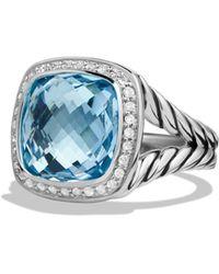 David Yurman 'albion' Ring With Semiprecious Stone And Diamonds - Blue