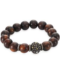 Bavna - Pave Diamond Wood Bead Bracelet - Lyst