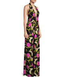 MILLY - Lily Silk Halter Jumpsuit - Lyst