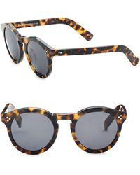 Illesteva - 50mm Leonard Ii Tortoise Round Sunglasses - Lyst