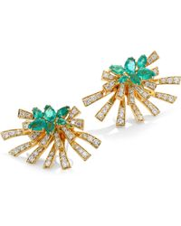 Hueb - Mirage Diamond & Green Emerald Stud & Ear Jacket Set - Lyst