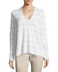 Lafayette 148 New York - Striped V-neck Pullover - Lyst