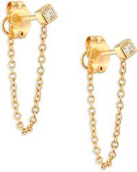 Zoe Chicco - Diamond & 14k Yellow Gold Front Back Stud Earrings - Lyst