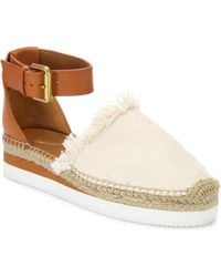 See By Chloé - Glyn Frayed Canvas & Leather Ankle-strap Platform Espadrilles - Lyst