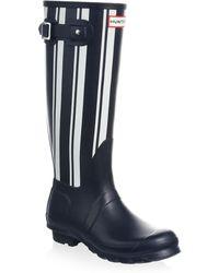 HUNTER - Striped Waterproof Rubber Rain Boots - Lyst