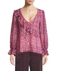 Nanette Lepore - Tile Work Silk Blouse - Lyst