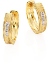 Jude Frances - Lisse Diamond & 18k Gold Hoops/0.25 - Lyst