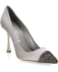Manolo Blahnik - Bipunta Satin Crystal-toe Court Shoes - Lyst