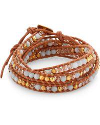 Chan Luu - Labradorite, Crystal & Leather Multi-row Beaded Wrap Bracelet - Lyst