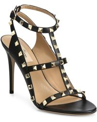 Valentino | Rockstud Leather Cage Sandals | Lyst