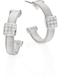 Marco Bicego - Masai Diamond & 18k White Gold Small Hoop Earrings/0.6 - Lyst