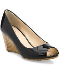 Cole Haan - Sadie Ot Patent Leather Peep Toe Wedge Court Shoes - Lyst