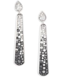 Plevé - Geometric Ombré Diamond & 18k White Gold Stiletto Drop Earrings - Lyst
