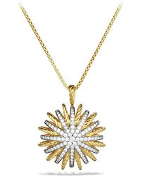 David Yurman - Starburst Large Pendant With Diamonds In Gold On Chain - Lyst