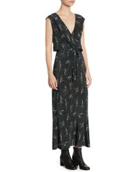 Vince | Spring Floral Crossover Slip Silk Maxi Dress | Lyst