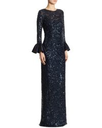 Teri Jon - Sequined Bell-sleeve Gown - Lyst