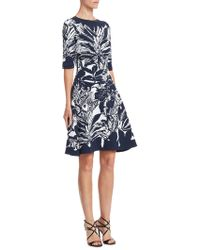 Oscar de la Renta - Leaf-print Cocktail Dress - Lyst