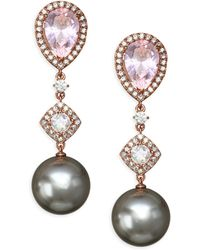 Adriana Orsini - Pink Swarovski Pearl Drop Earrings - Lyst
