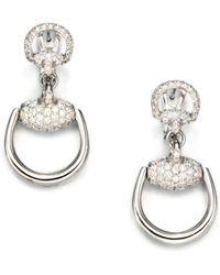 Gucci - Horsebit Diamond & 18k White Gold Drop Earrings - Lyst